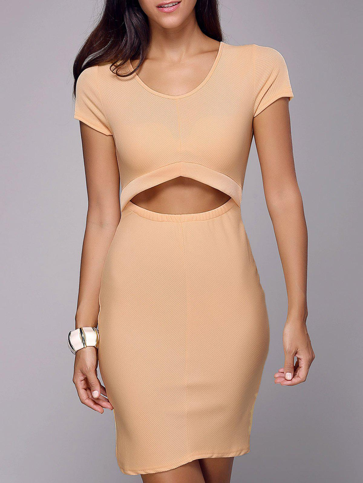 Sheath Knee Length Cutout Dress - LIGHT KHAKI XL