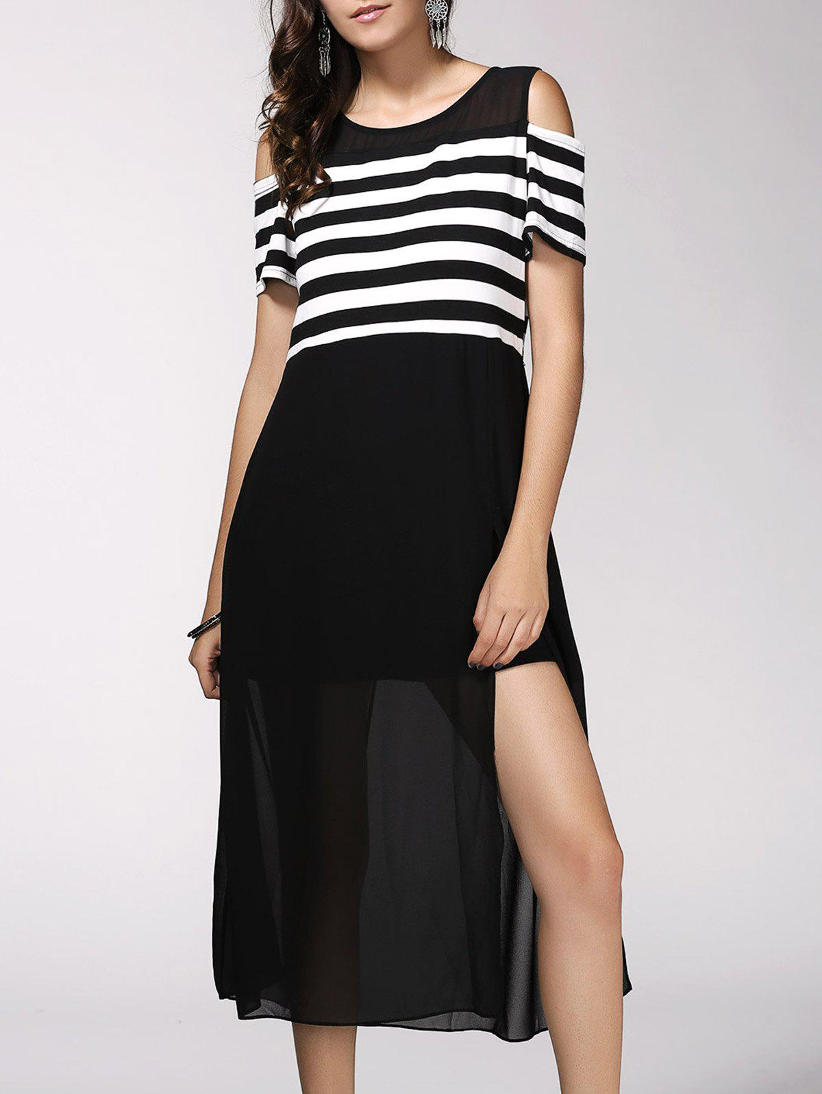 Trendy Short Sleeve Striped High Slit Hollow Out Dress For WomenWomen<br><br><br>Size: ONE SIZE(FIT SIZE XS TO M)<br>Color: BLACK