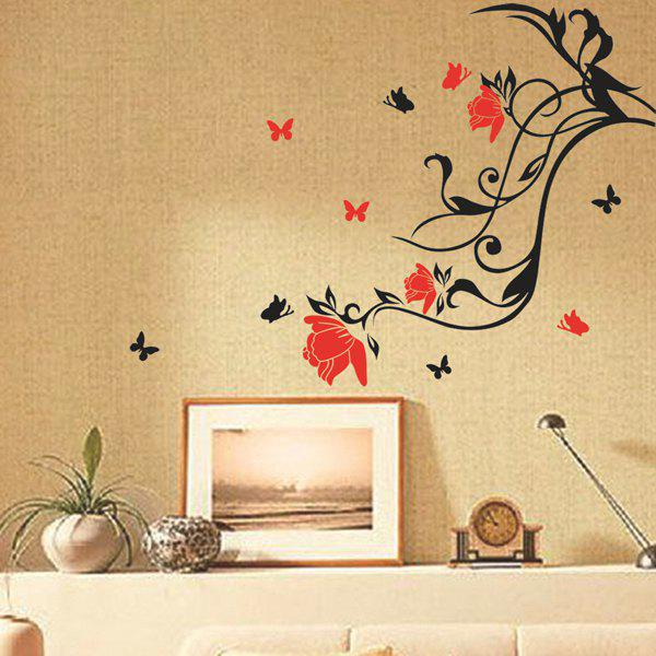 Chic Flower Vine Pattern Wall Sticker For Livingroom Bedroom Decoration - RED/BLACK