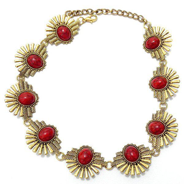 Retro Style Red Turquoise Floral Geometric Openwork Gold Plated Alloy Necklace For Women