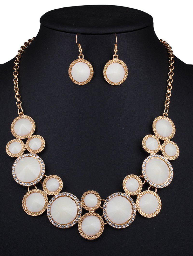 Rhinestone Faux Gem Round Necklace and Earrings - WHITE