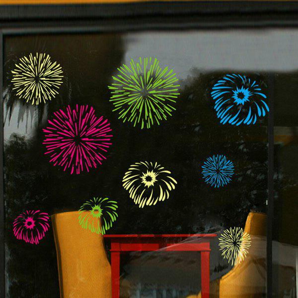 Stylish Colorful Fireworks Pattern Wall Sticker For Glass Show Window Decoration
