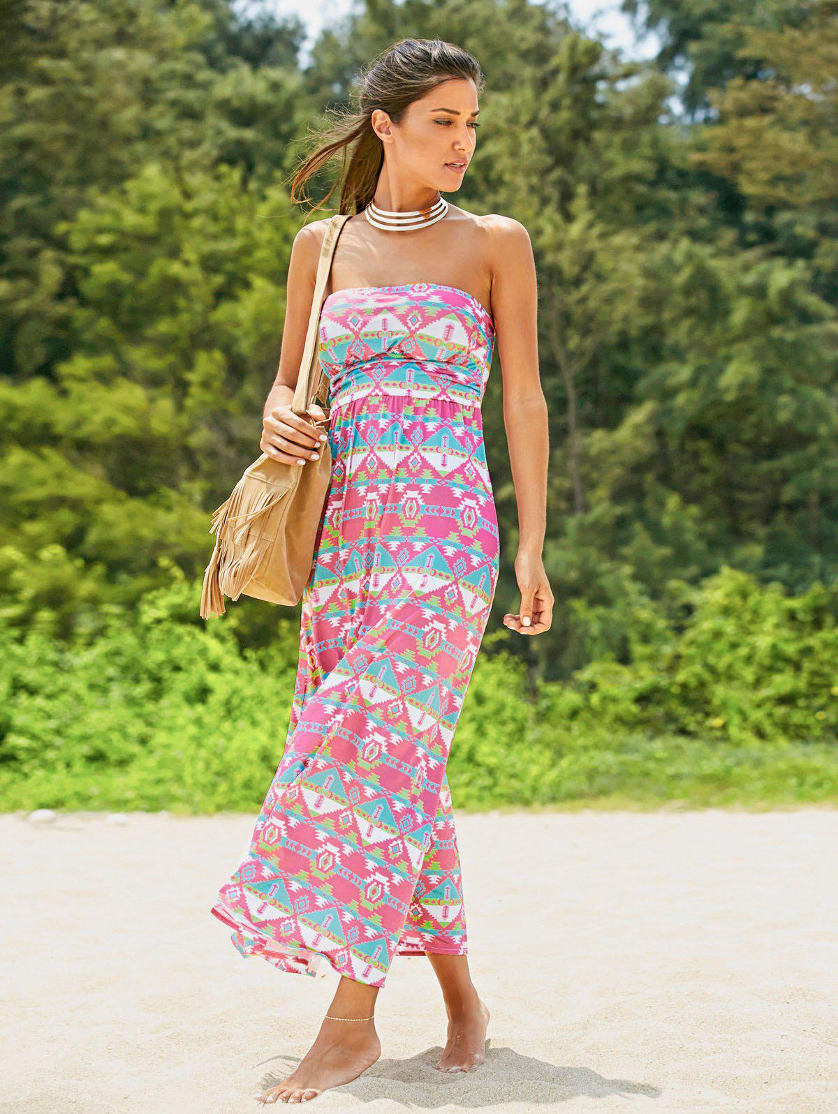 Trendy Strapless Colorful Print Dress For Women - COLORMIX XL