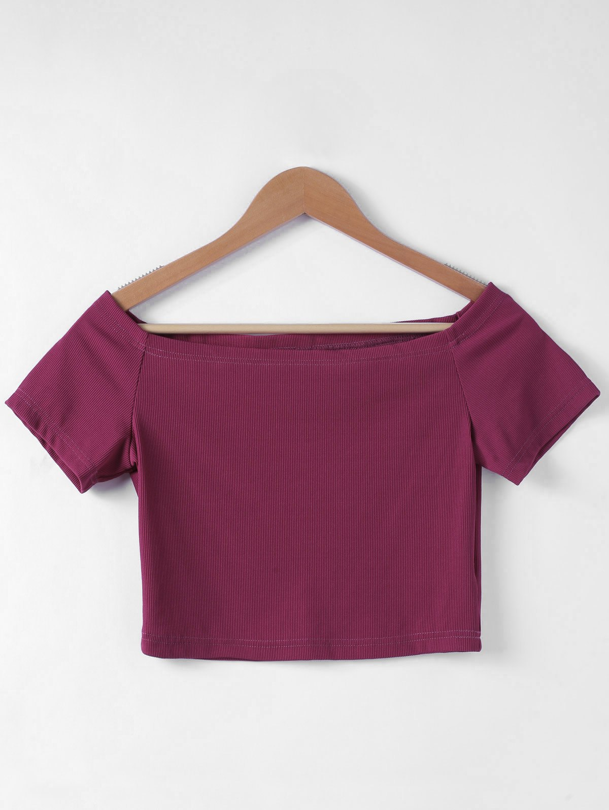 Flat Shouders Contracted Slim T-Shirt For Women - S WINE RED