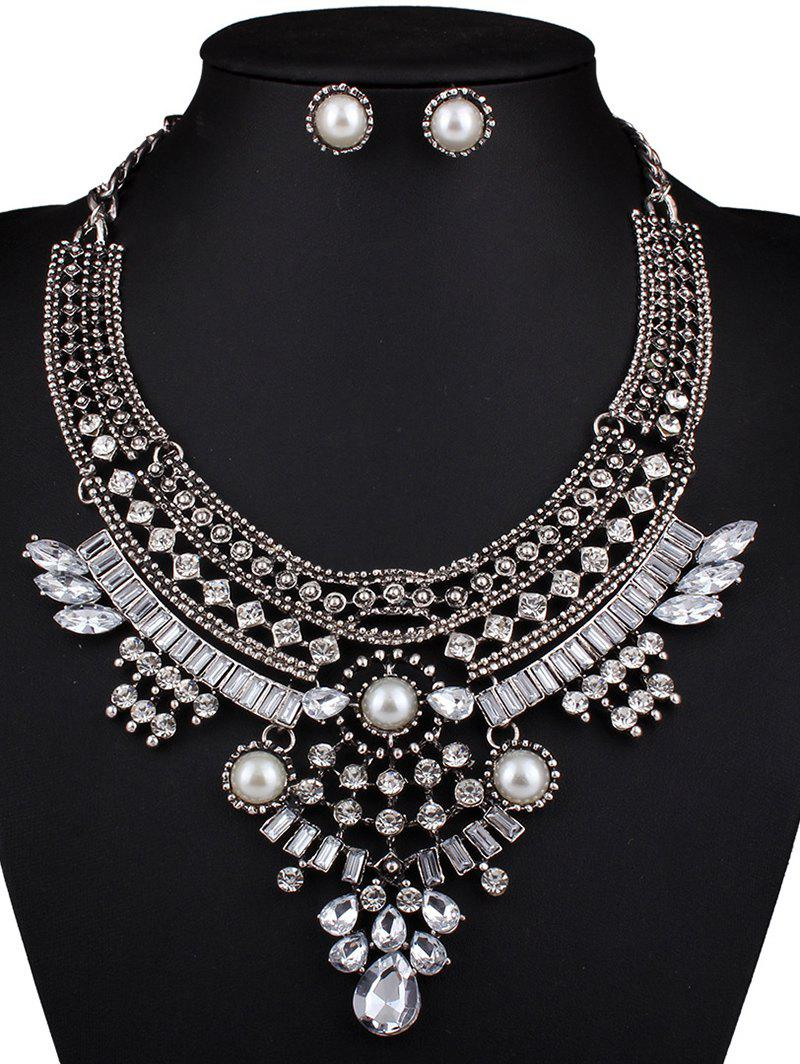 Elegant Faux Pearl Crystal Teardrop Necklace and Earrings