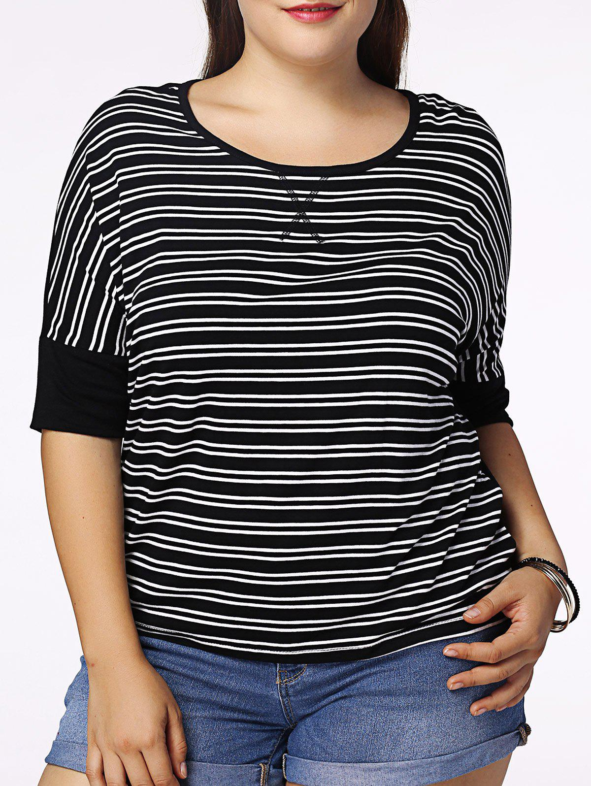 Casual Plus Size Striped Half Sleeve Scoop Neck Women's T-Shirt - BLACK 5XL