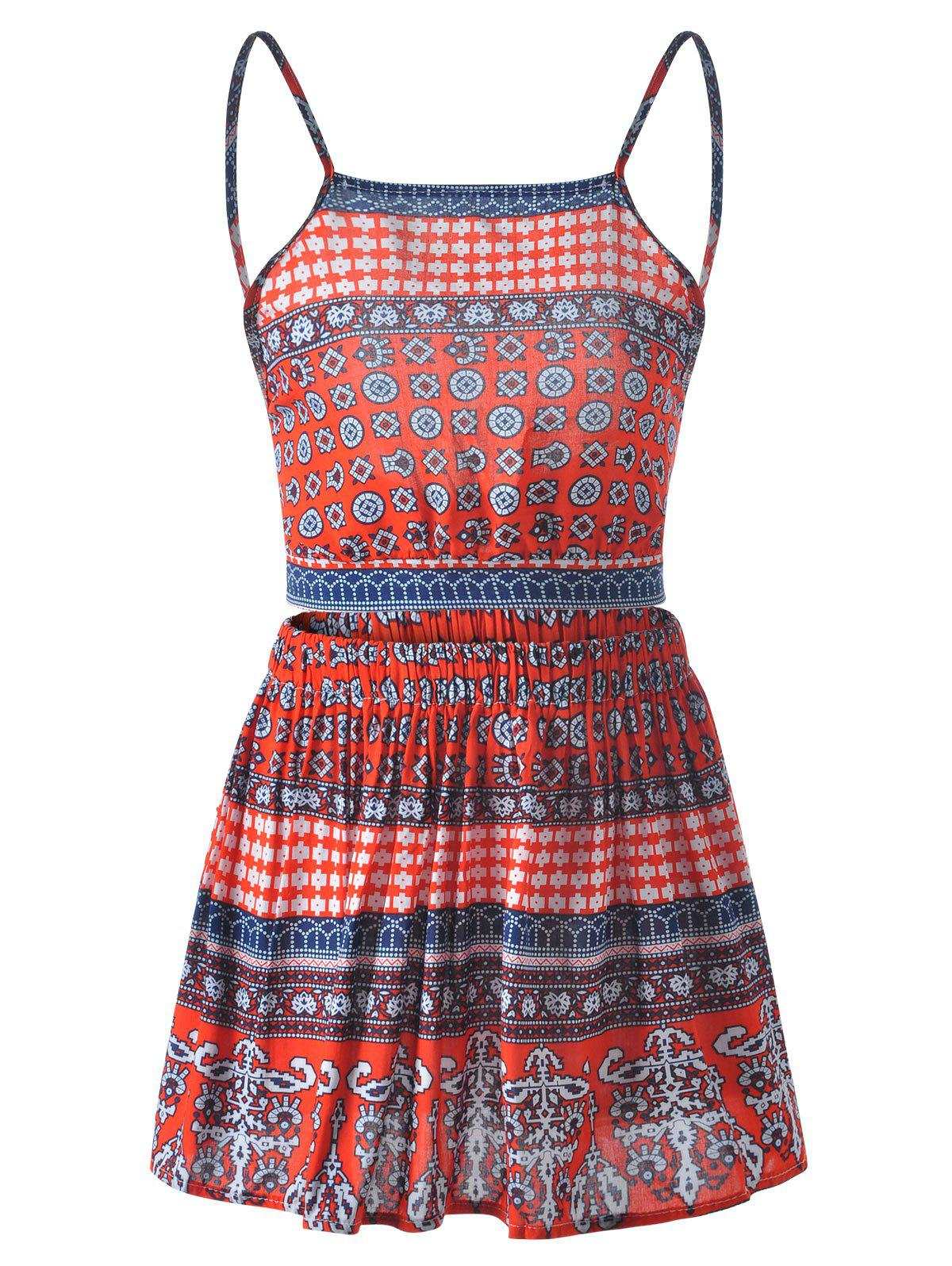 Spaghetti Strap Backless Top + Cinched Waist Printing Short Skirt Twinset For Women - RED M