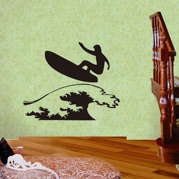 Creative Surfing Guy Pattern Wall Sticker For Livingroom Bedroom Decoration - BLACK