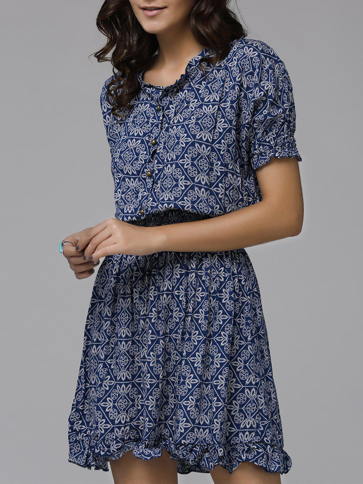 Print Front Button Frilled Women's Dress - PURPLISH BLUE XL