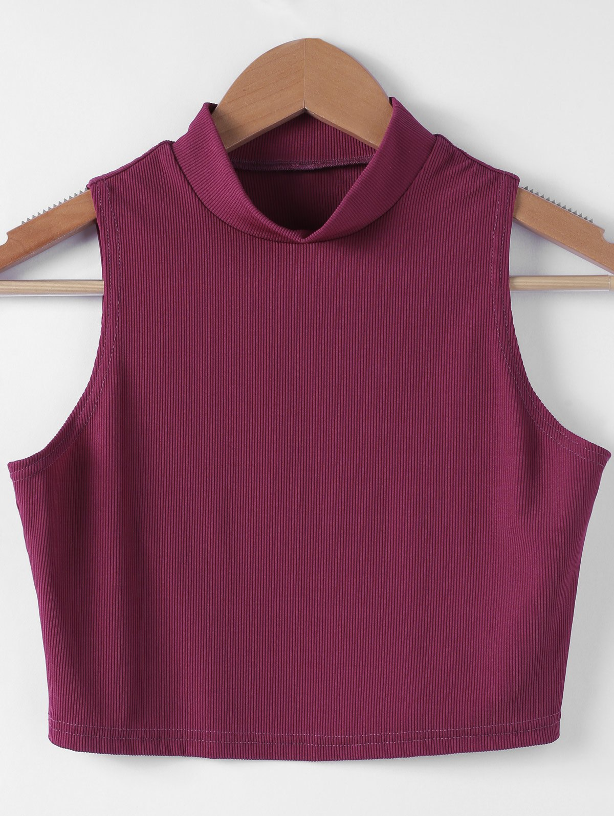 Stylish Solid Color Short Top For Women - WINE RED S