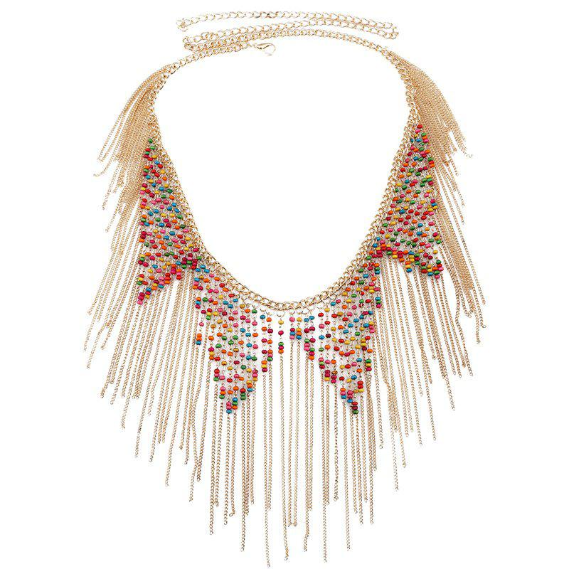 Ethnic Style Beads Decorated Tassels Belly Chain For Women - GOLDEN
