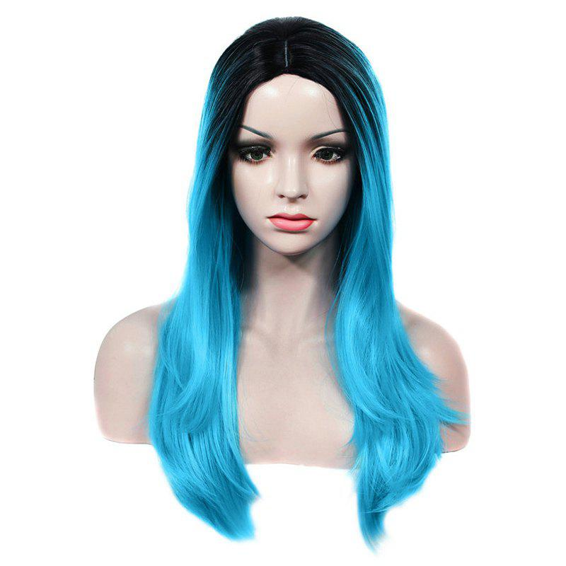 Charming Long Centre Parting Capless Straight Black Ombre Blue Women's Synthetic Wig - BLUE/BLACK