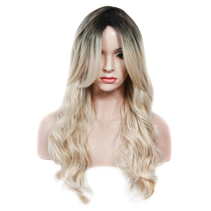 Fashion Black Ombre Light Blonde Synthetic Fluffy Wave Long Middle Part Women's Wig