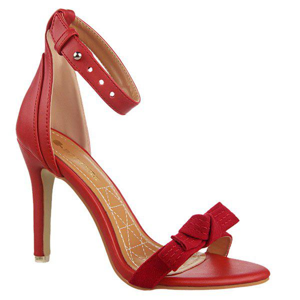 Stylish Bow and Stitching Design Women's Sandals - RED 36