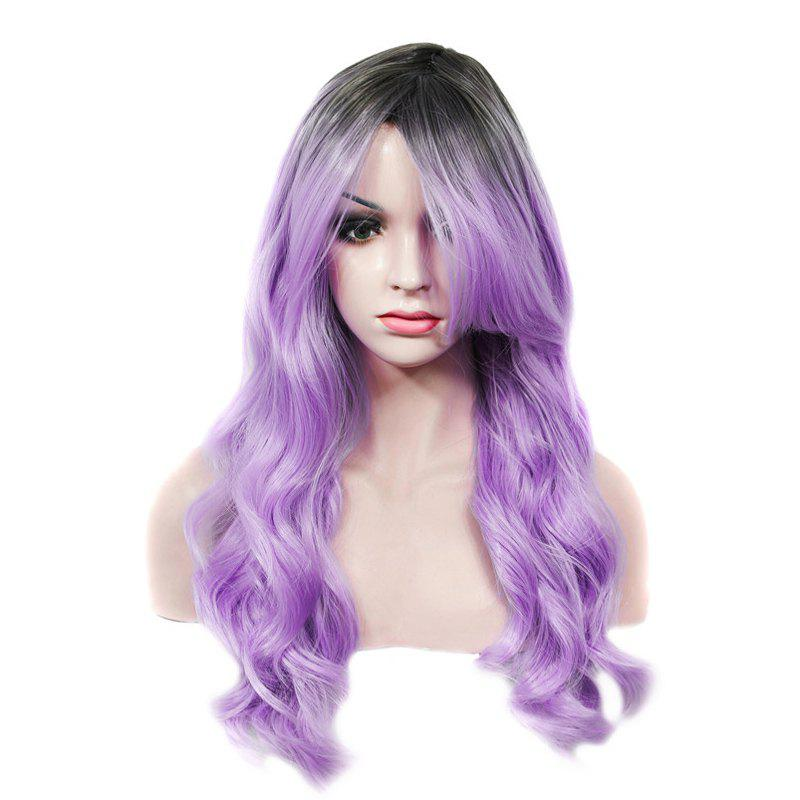 Shaggy Wave Synthetic Stylish Long Rooted Black Ombre Lilac Capless Wig For Women - BLACK/PURPLE
