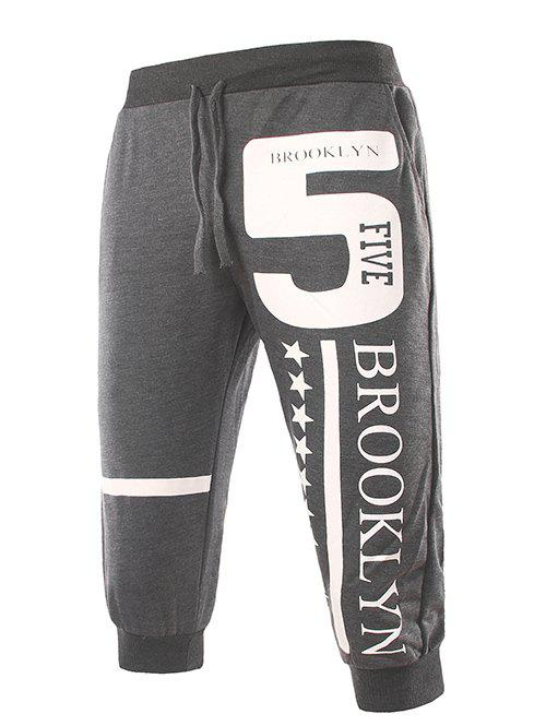 Star and Letters Print Lace-Up Beam Feet Men's Cropped Pants