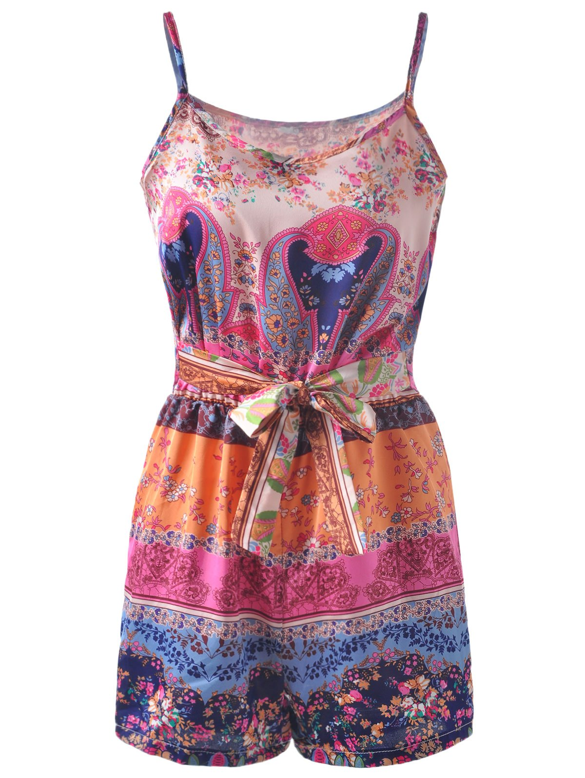 Spaghetti Strap Elastic waist TieWaist  Ethnic Style Printing Romper For WomenWomen<br><br><br>Size: ONE SIZE(FIT SIZE XS TO M)<br>Color: COLORMIX