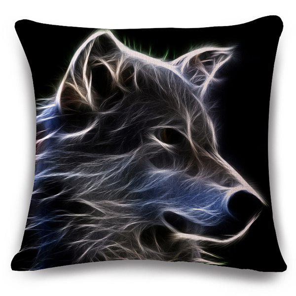 Stylish 3D Animals Wolf Pattern Square Shape Flax Pillowslip (Without Pillow Inner) - BLACK