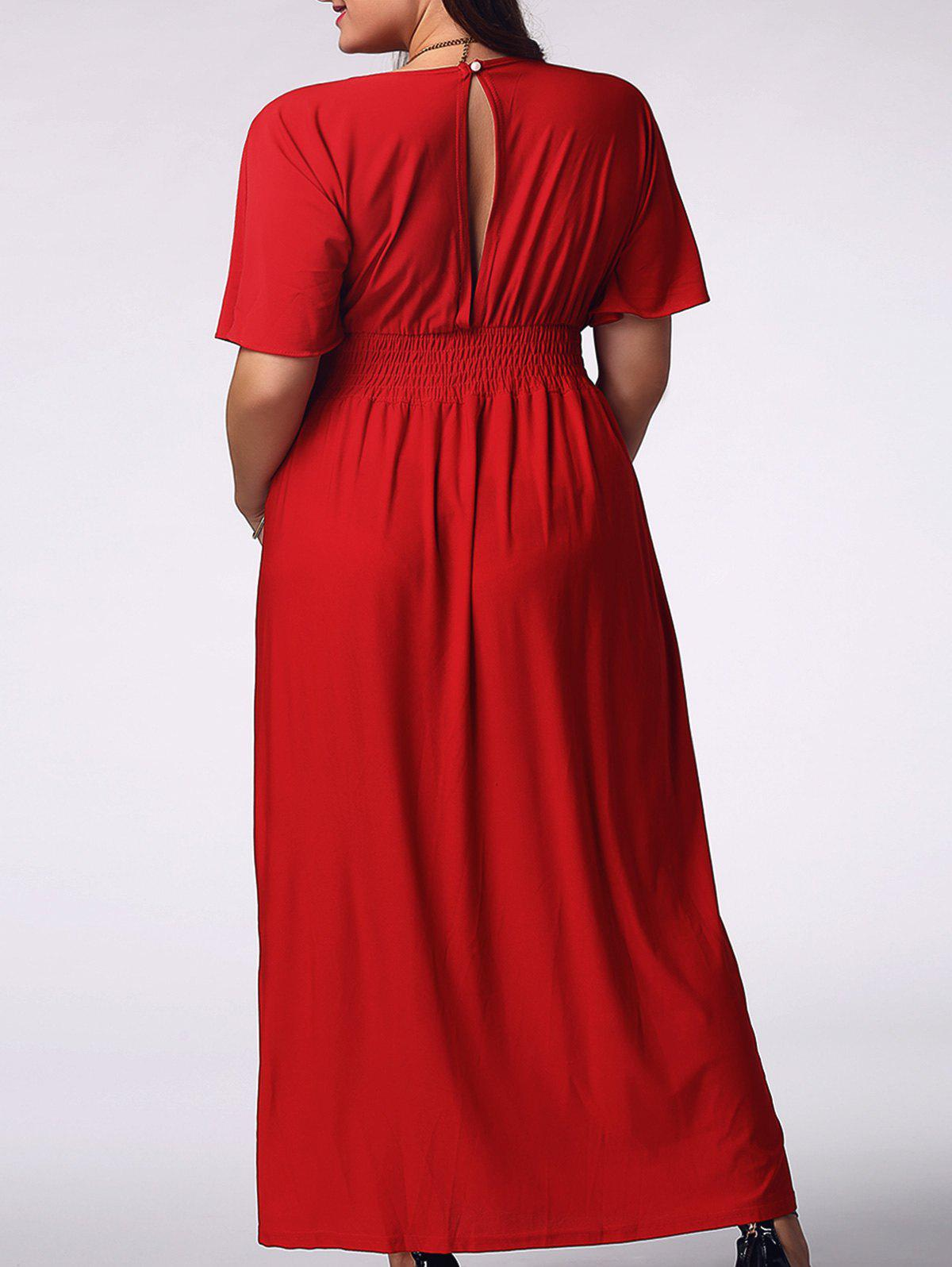Elegant Plus Size Short Sleeve Plunging Neck Solid Color Women's Prom Dress - RED 3XL