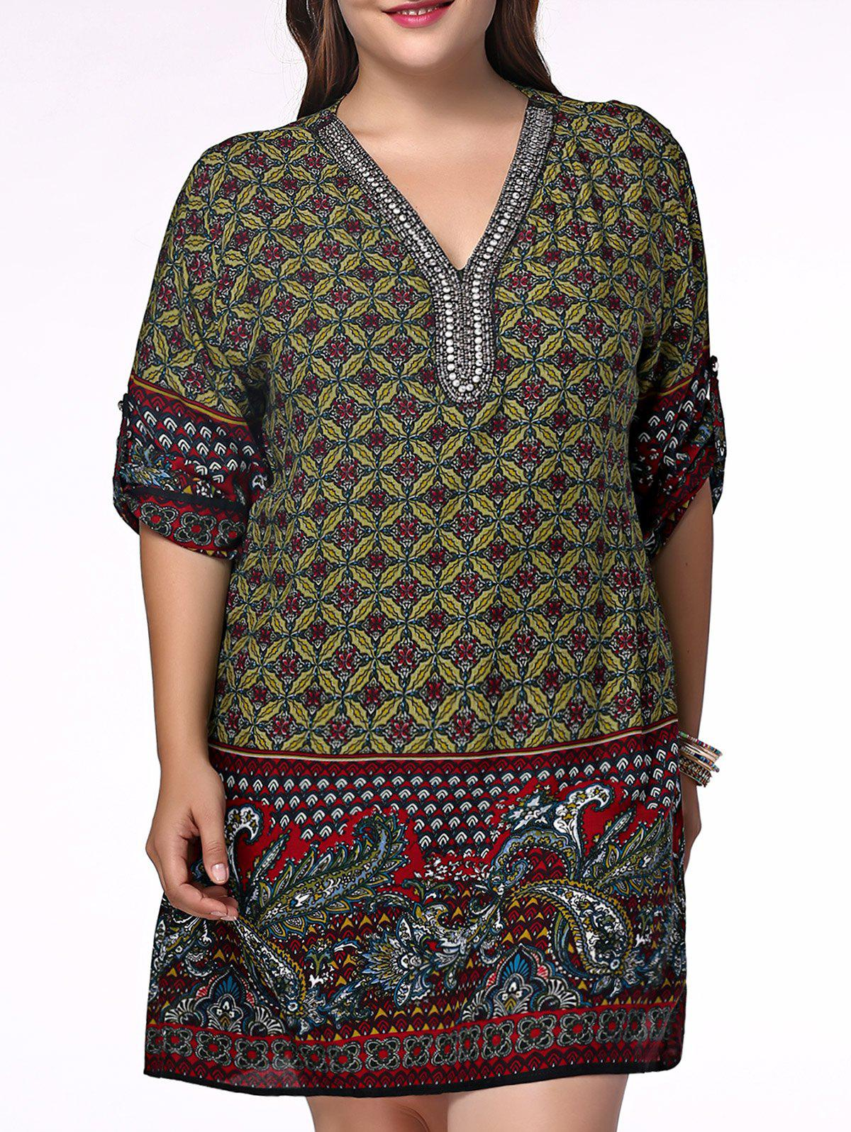 Ethnic Plus Size V Neck Rhinestoned Floral Print Women's Blouse - OLIVE GREEN 2XL