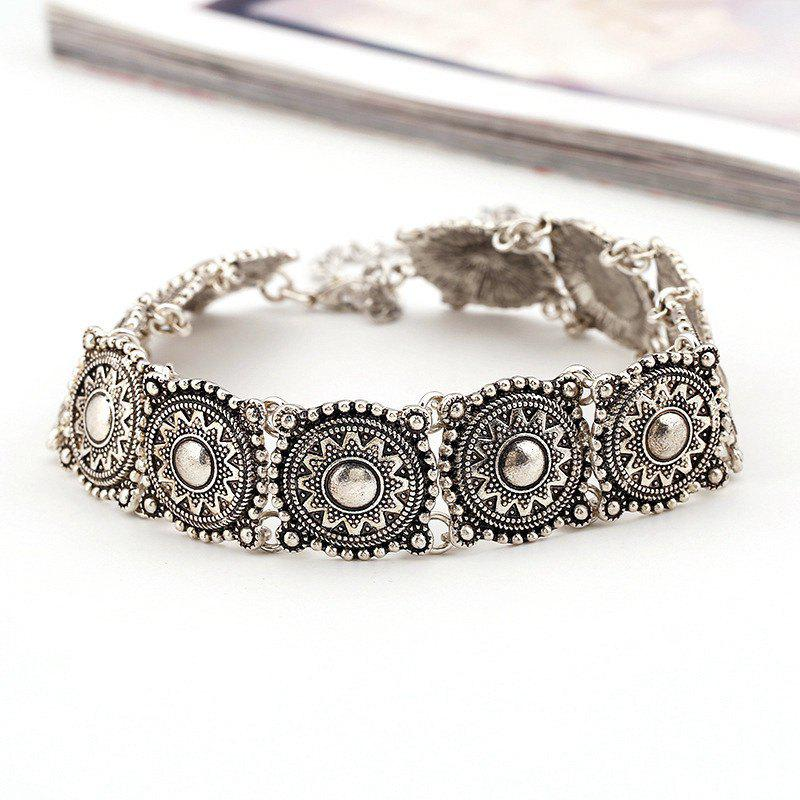 Vintage Style Engraved Floral Pattern Choker Necklace For Women