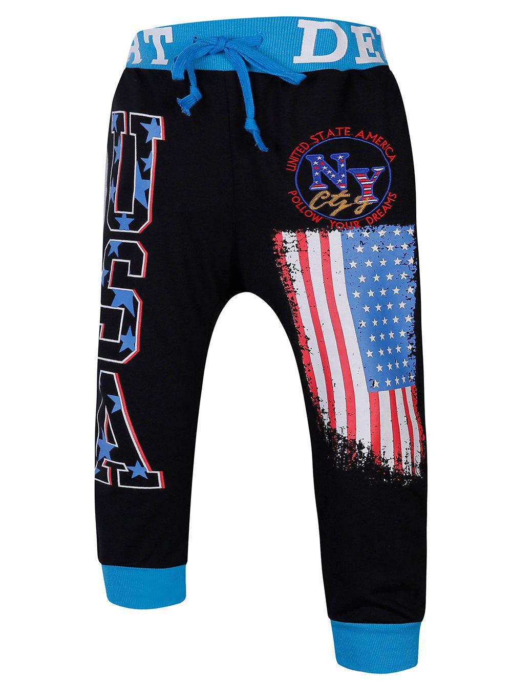 Lace-Up Color Block Spliced Flag and Letters Print Beam Feet Men's Jogger Shorts - BLUE/BLACK M