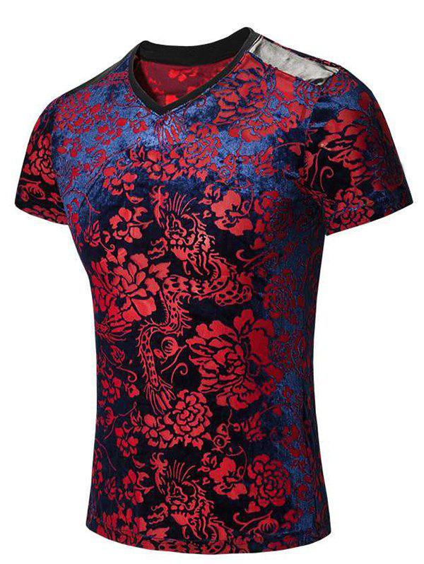Tribal Print PU Leather Spliced V-Neck Short Sleeves Men's T-Shirt - COLORMIX M