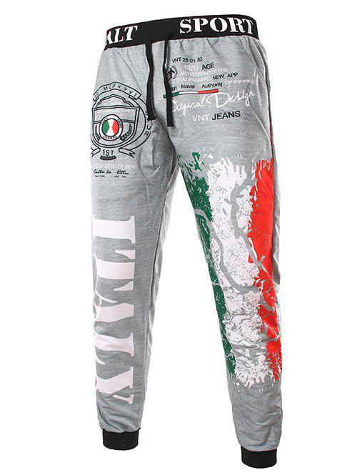 Trendy Lace-Up Loose Fit Italy National Emblem Print Beam Feet Polyester Sweatpants For Men - LIGHT GRAY M