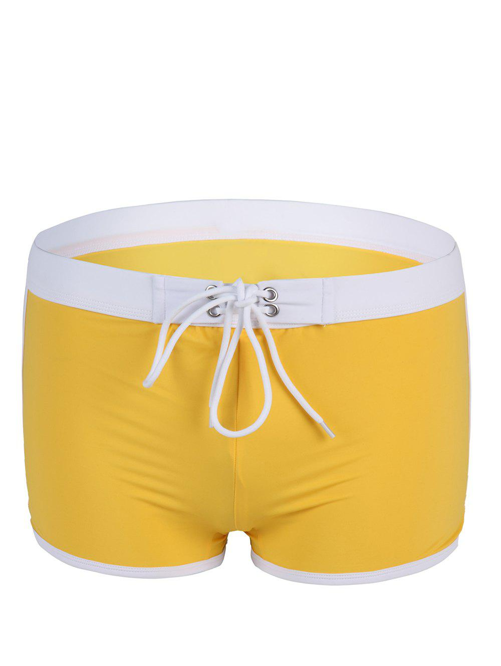 Fashion Low Waist Color Block Lace-Up Boxers Men's Swimming Trunks - YELLOW XL