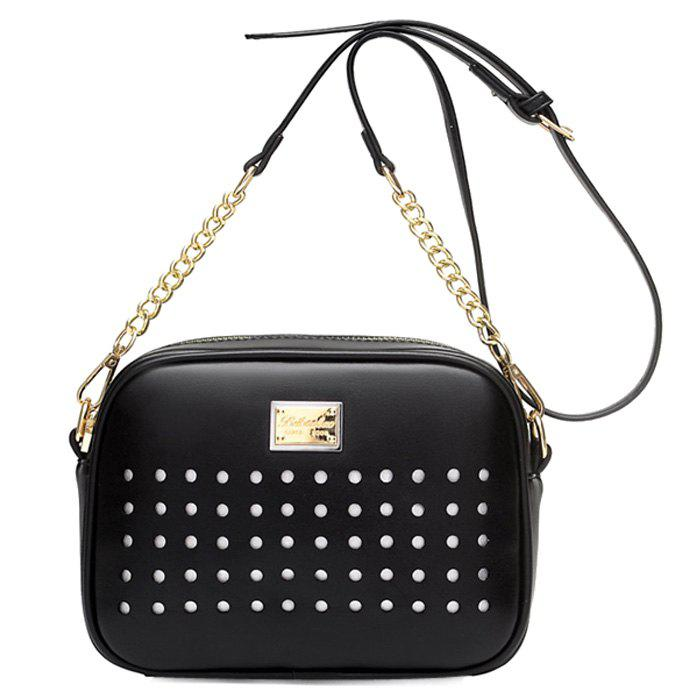 Trendy Hollow Out and Chains Design Women's Crossbody Bag - BLACK