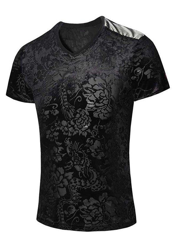New Style V-Neck Floral Print PU Leather Spliced Men's Short Sleeves T-Shirt