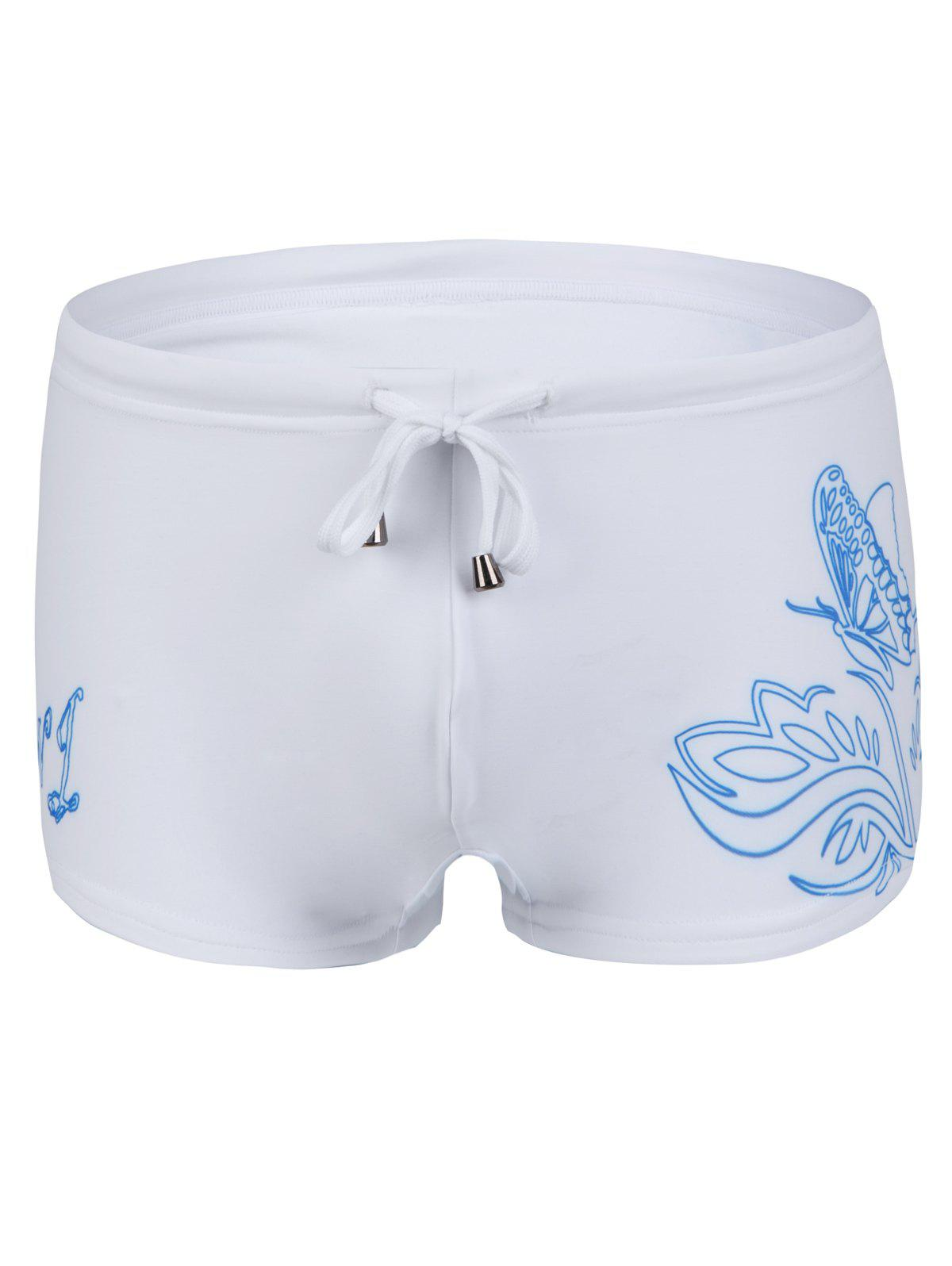 Slimming Flower Printed Lace Up Men's Swimwear - WHITE L