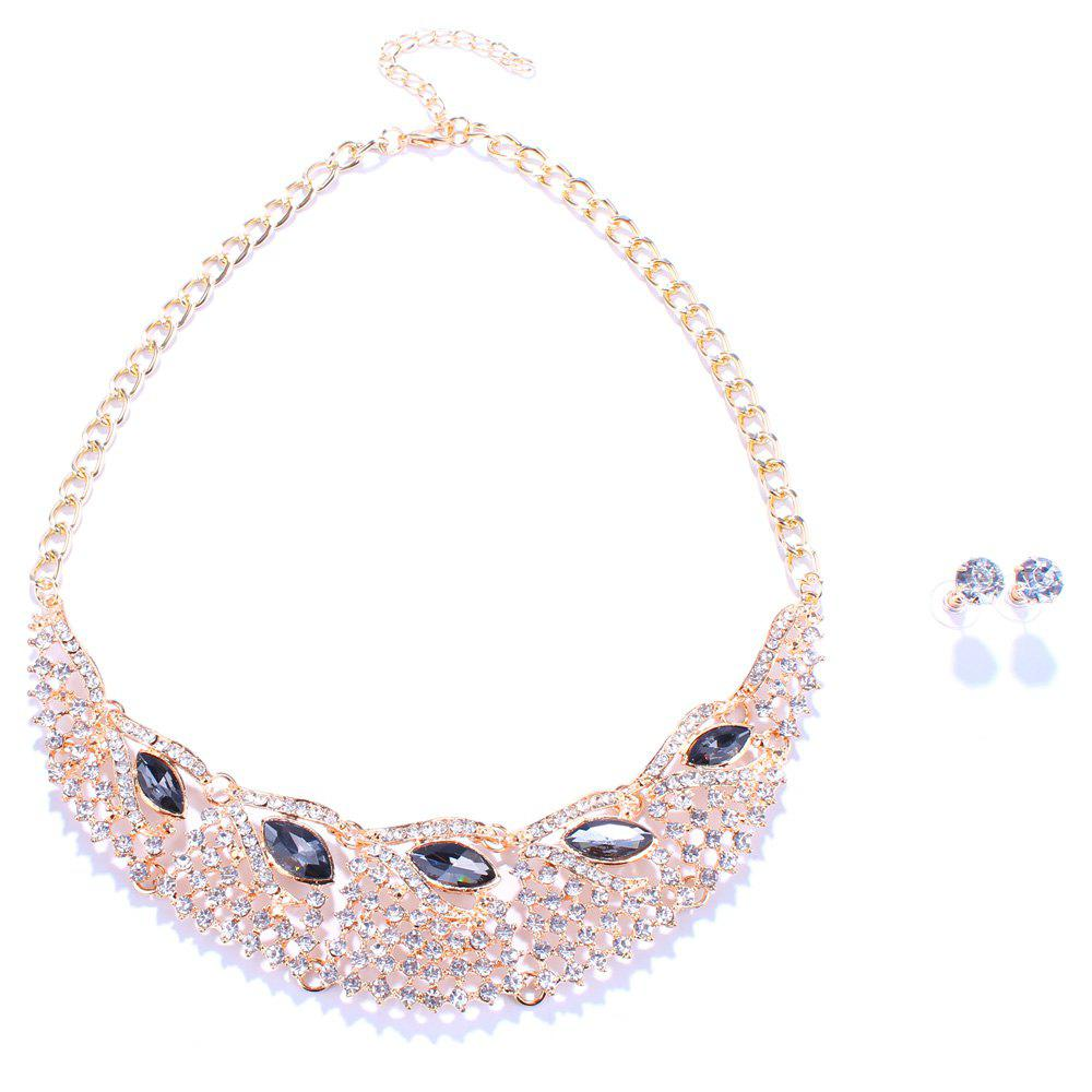 Statement Faux Gem Rhinestone Hollow Out Fake Collar Necklace and Earrings - BLACK