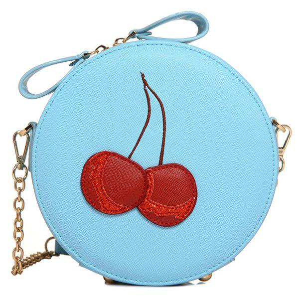 Sweet Cherry Pattern and Round Shape Design Women's Crossbody Bag - BLUE