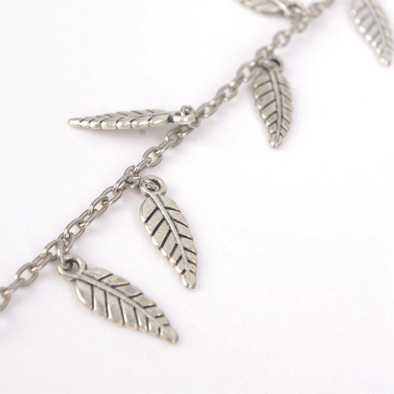 Alloy Leaves Pendant Toe Ring Anklet - SILVER