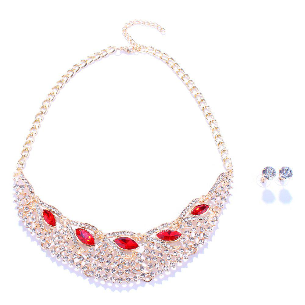 Faux Ruby Leaf Rhinestone Openwork Fake Collar Necklace and Earrings - RED