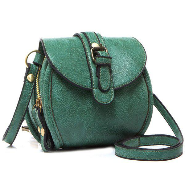 Simple Buckle and Solid Color Design Women's Crossbody Bag - GREEN