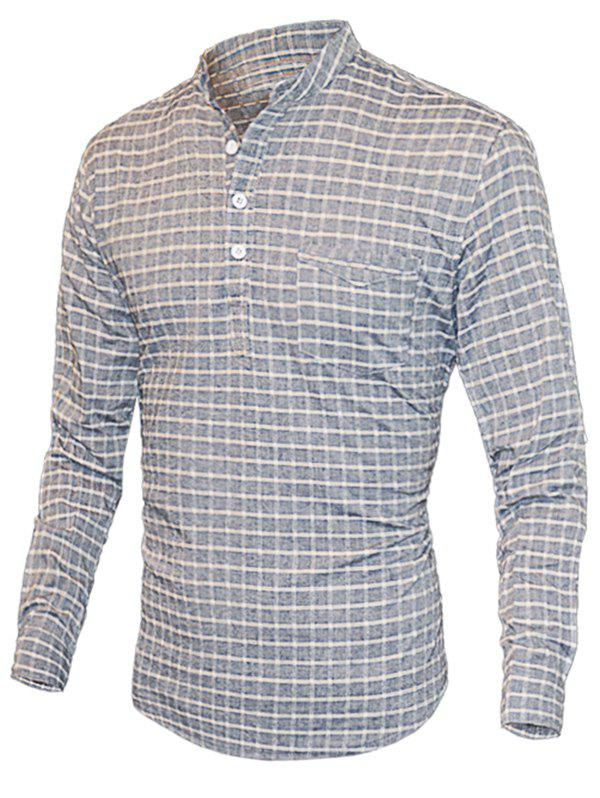 Plaid Print Half-Button Design Stand Collar Long Sleeve Men's T-Shirt