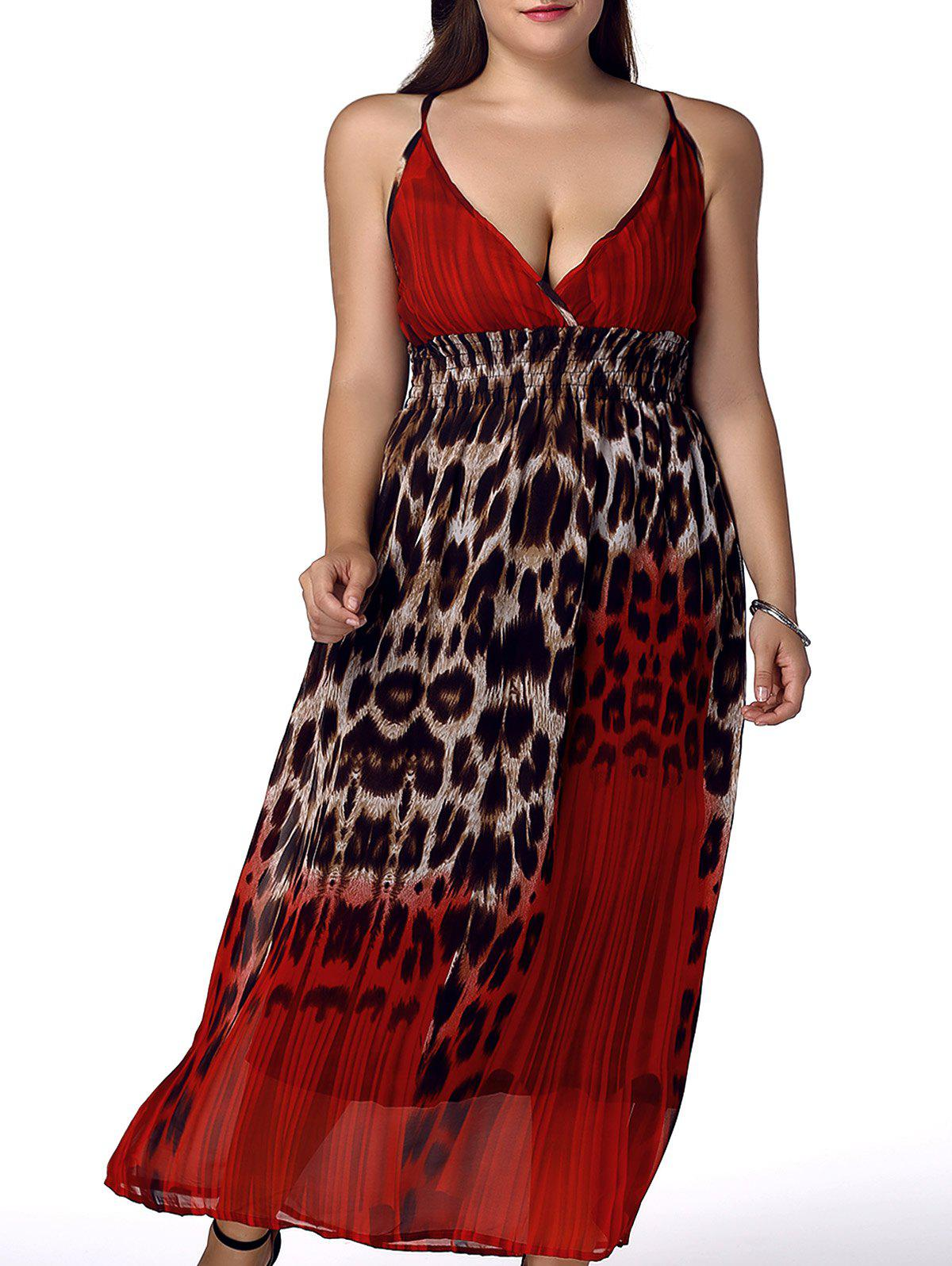 Bohemian Plus Size Sleeveless Spaghetti Strap Leopard Print Women's Dress - RED 4XL