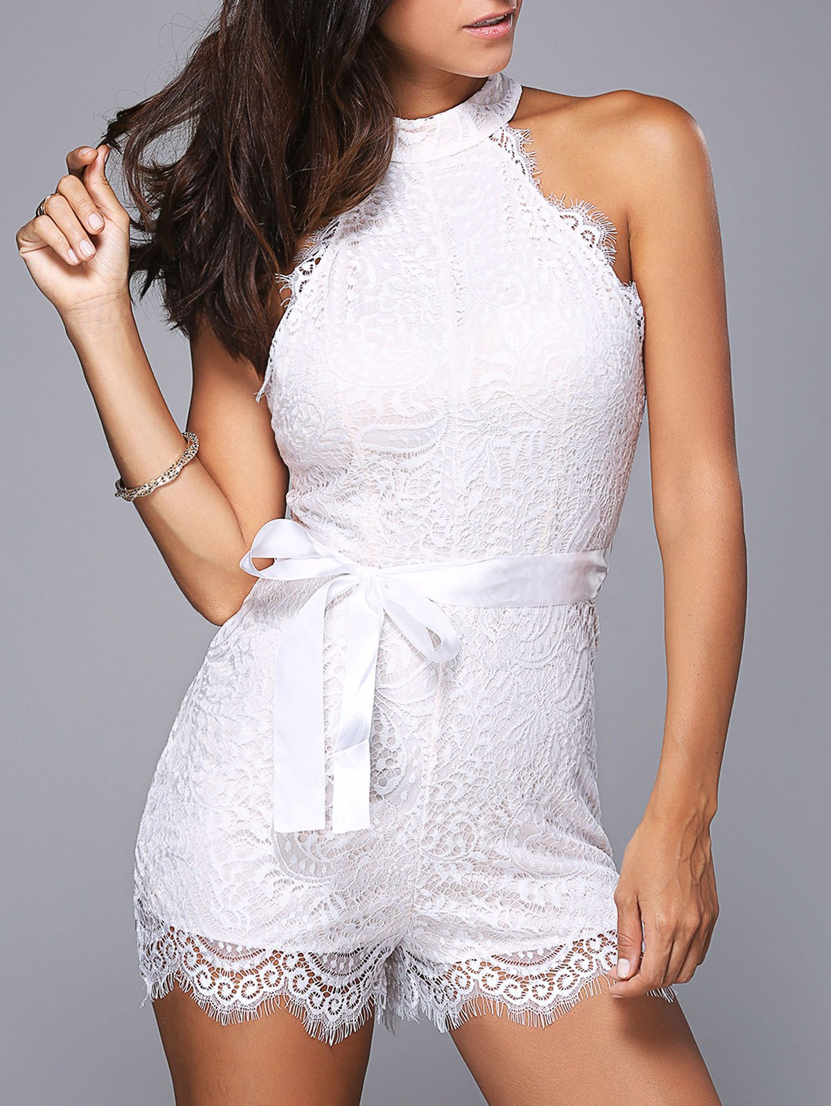 Stylish Round Neck Sleeveless Laced Belted Romper For Women - WHITE L
