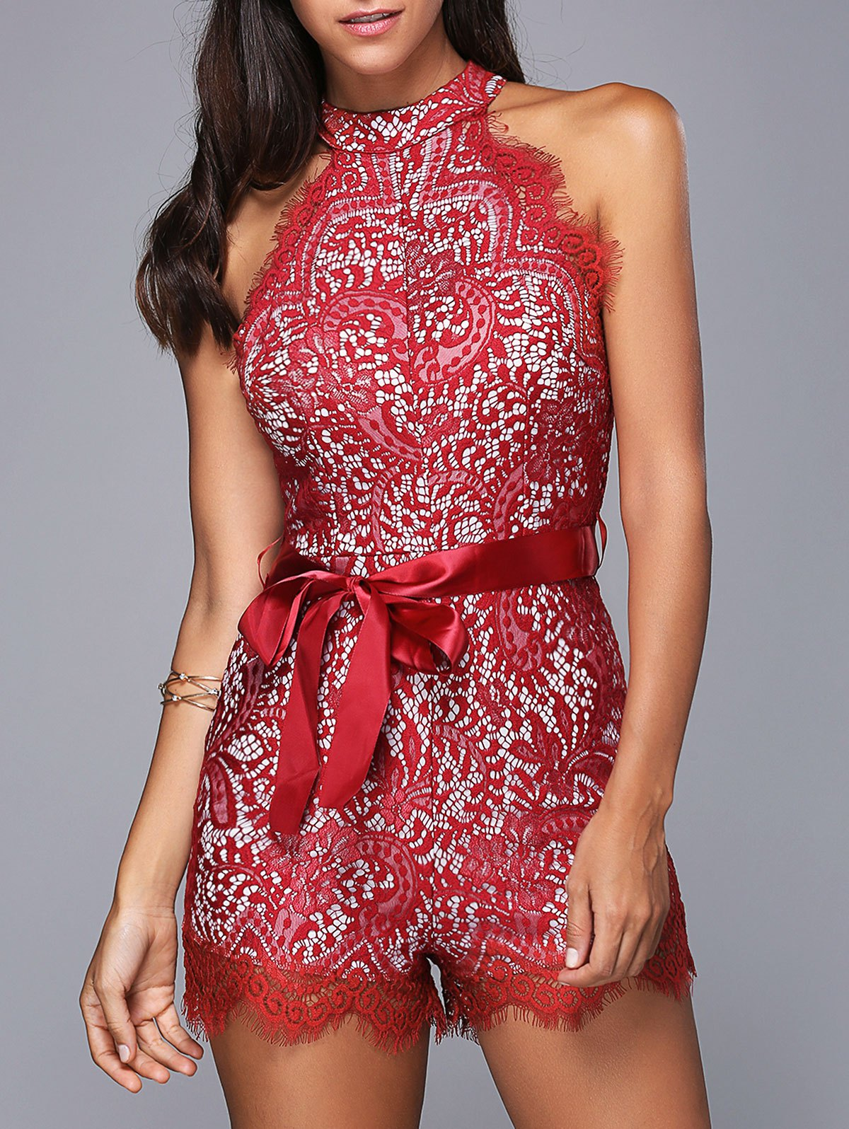 Stylish Round Neck Sleeveless Laced Belted Romper For Women - RED S