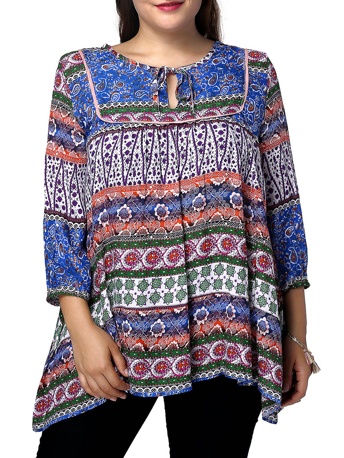 Ethnic Plus Size 3/4 Sleeve Keyhole Neck Abstract Pattern Women's Blouse - BLUE S