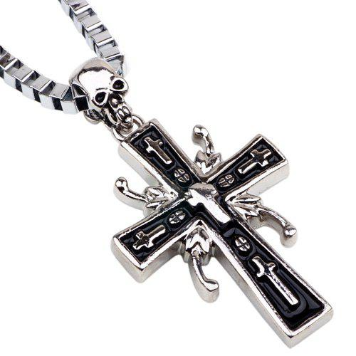 Punk Style Skull Cross Box Chains Necklace For Men - SILVER