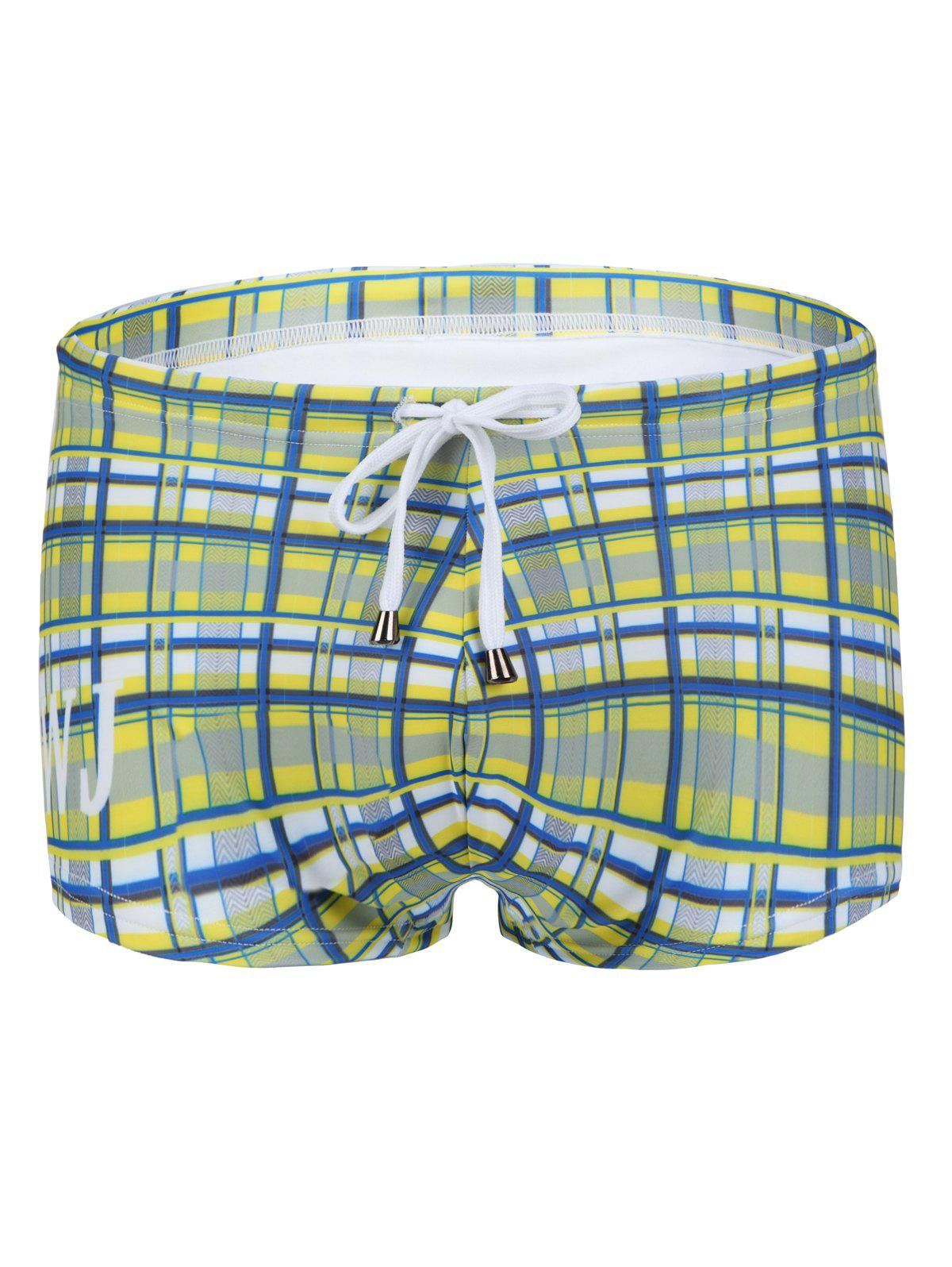 Slimming Plaid Printed Lace Up Men's Swimwear - YELLOW XL