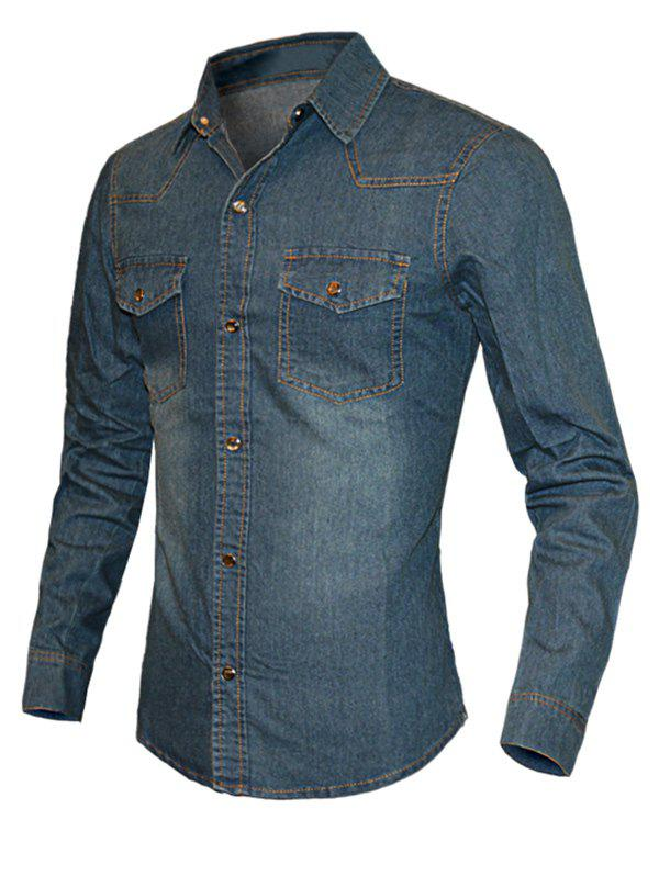 Solid Color Turn-Down Collar Long Sleeve Denim Men's Shirt - DENIM BLUE XL