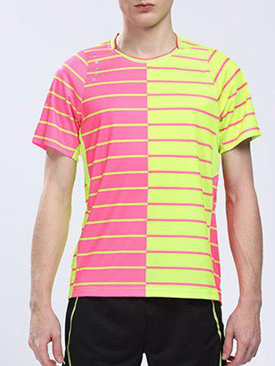Round Neck Short Sleeve Logo Customized Badminton Quick Dry Training Men's T-Shirt - M YELLOW/RED