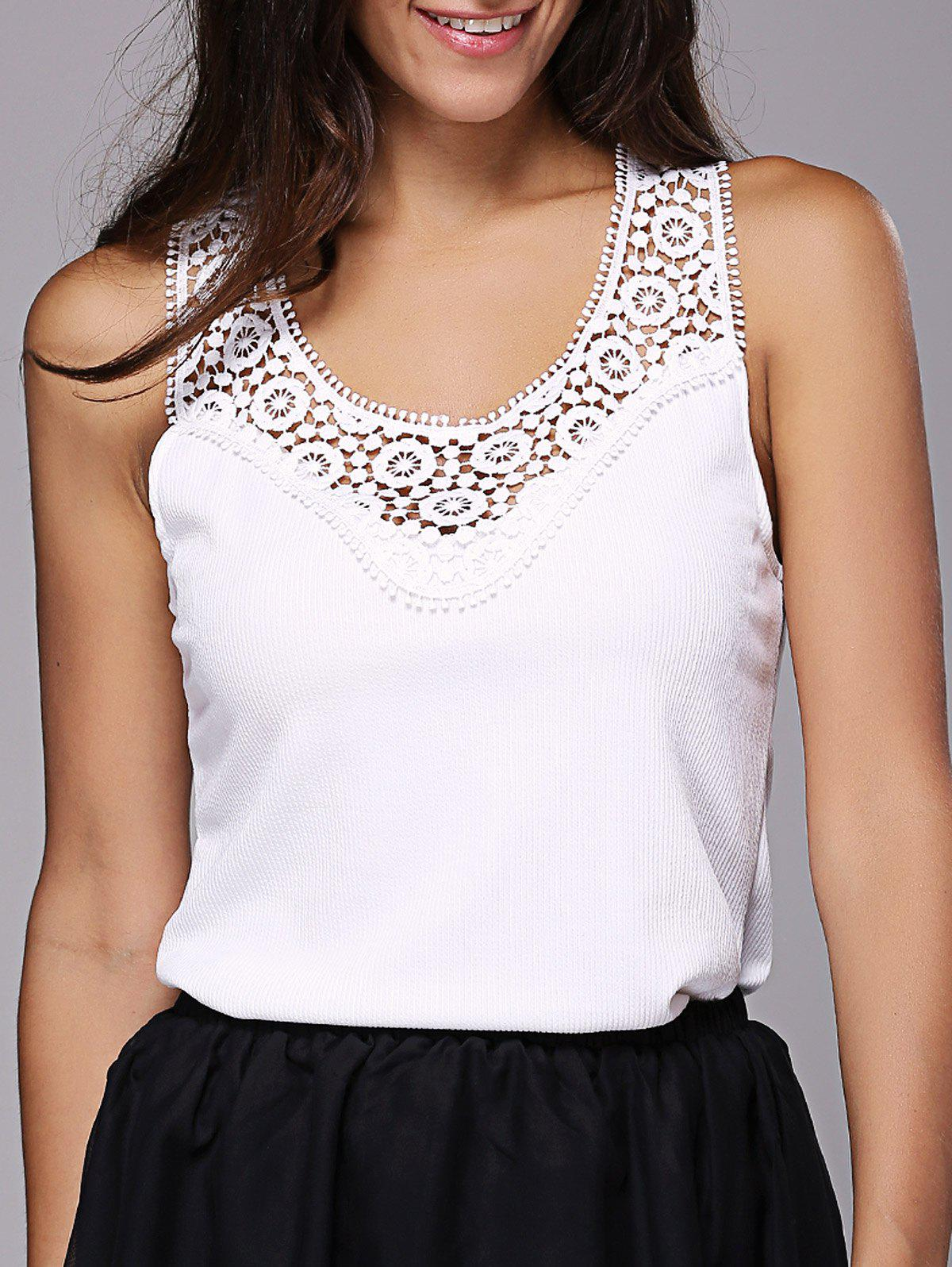 Stylish Laced  Racerback Tank Top For Women - WHITE XL