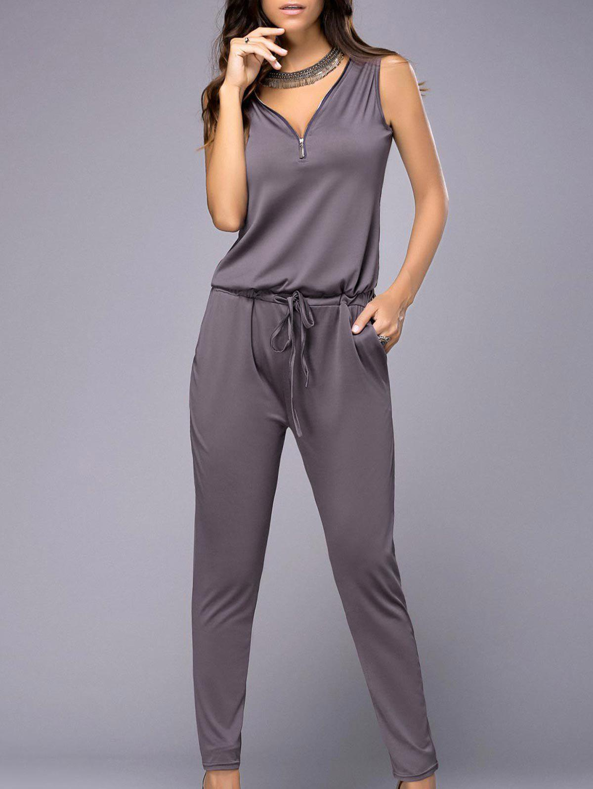 Stylish Sleeveless V Neck Pure Color Jumpsuit For Women - PURPLE S