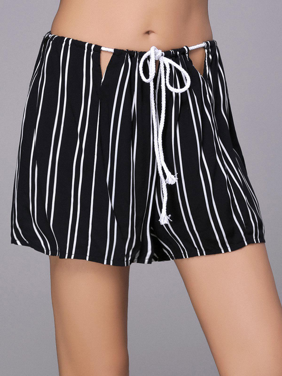 Stylish Striped Loose Shorts For Women - BLACK M