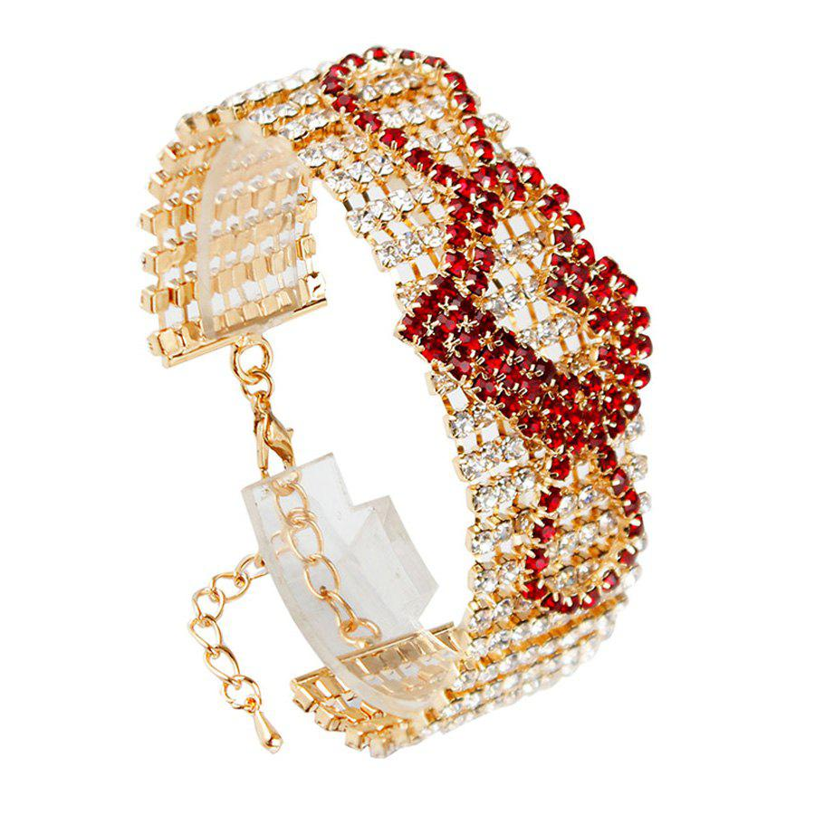Chic Style Rhinestoned Heart Hollow Out Bracelet For Women - RED